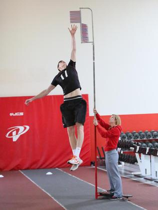 Cox shows off his vertical leap.