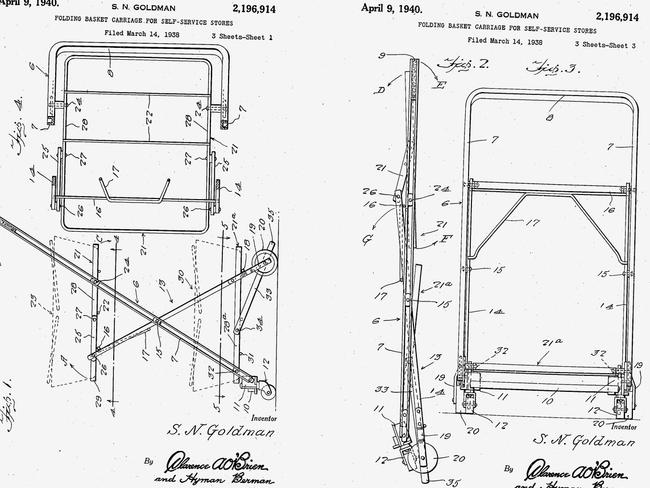 Sylvan Goldman's original patents, filed in 1938. Picture: Google Patents