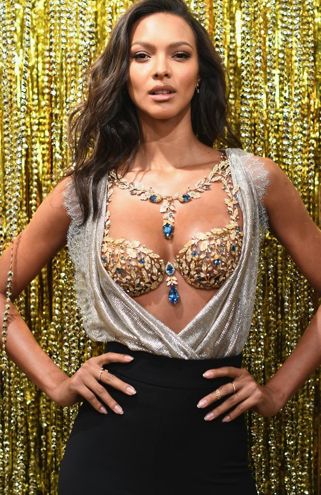 """Golden girl Lais Ribeiro wearing the $2 million """"Champagne Nights Fantasy Bra"""". She'll wear it on the runway in Shanghai next week. Picture: Getty Images"""