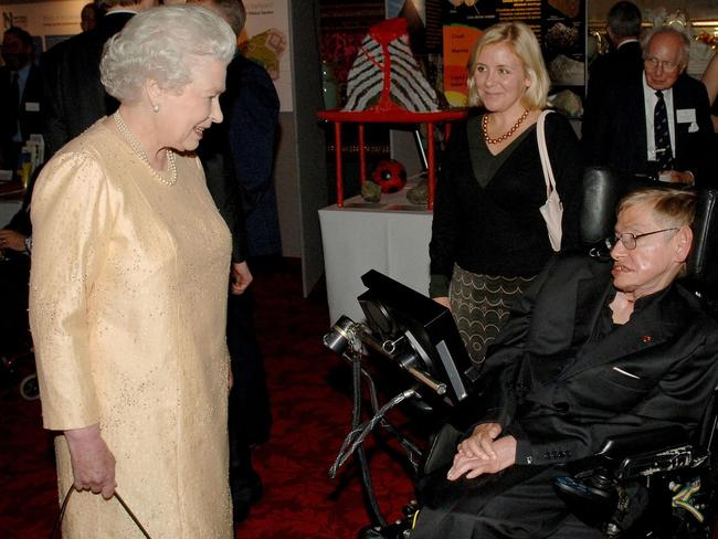 Queen Elizabeth ll meets professor Stephen Hawking during a reception at Buckingham Palace to mark the importance of British Science. Picture: Anwar Hussein Collection/Getty Images