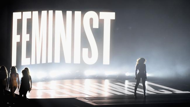 Beyonce proudly calls herself a feminist (the clue is in the giant sign). Picture: Getty Images/AFP