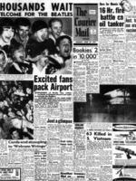 The Courier Mail - 29 June 1964 - front page - Beatles arrive in Brisbane excited fans. Picture: News Corp