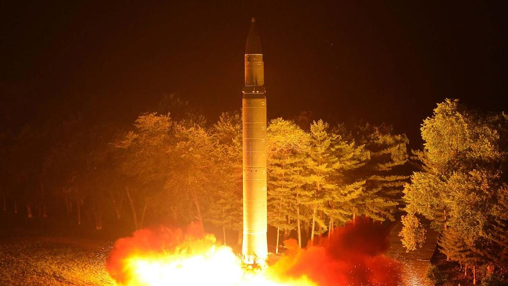 A North Korean intercontinental ballistic missile, Hwasong-14 being launched in July. Picture: AFP/KCNA via KNS.