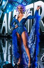 Monika Radulovic, Miss Australia 2015 debuts her National Costume on stage at the 2015 Miss Universe Pagaent on December 16, 2015 in Las Vegas. Picture: HO/The Miss Universe Organization