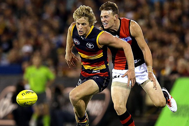 AFL - Adelaide Crows v Essendon at AAMI Stadium - Round 1 - Rory Sloane and Brendon Goddard Picture: Sarah Reed