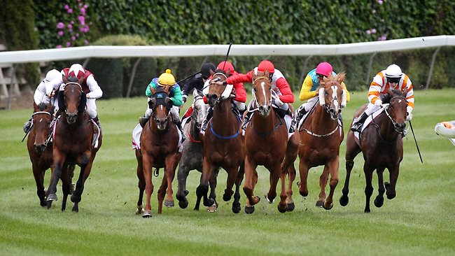Hidden Warrior, ridden by Nash Rawiller (red cap, red sleeves), leads the field into the straight, a position he never relinquished. Picture: Michael Klein