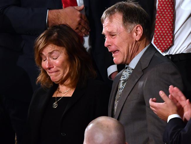 Fred and Cindy Warmbier are recognised during the State of the Union address at the US Capitol in Washington. Picture: Nicholas Kamm/AFP Photo