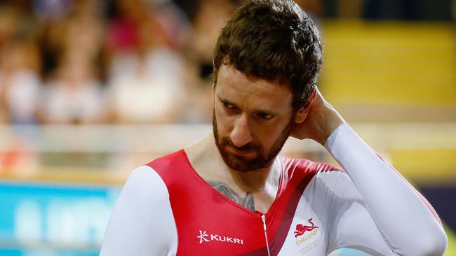 A disappointed Bradley Wiggins came up short with England in the team pursuit.