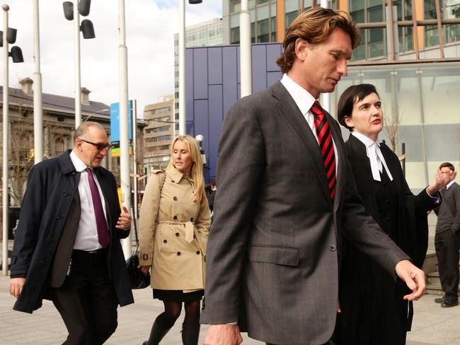James and Tania Hird arrive at court with their legal team. Picture: Norm Oorloff