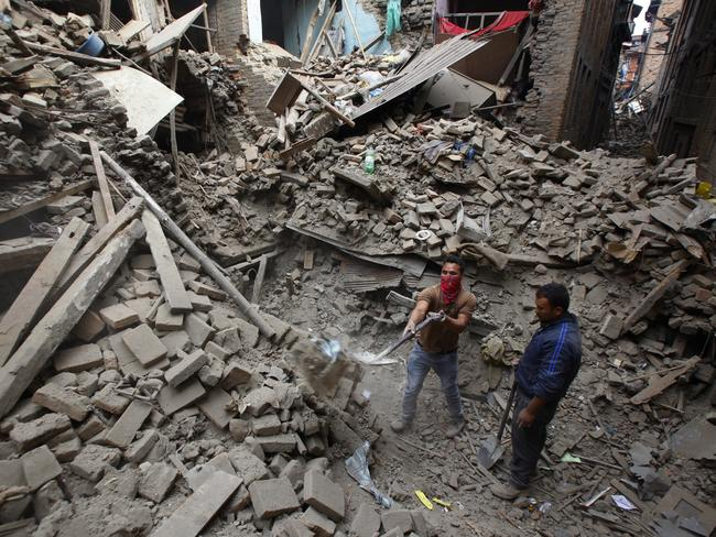Search efforts ... rescue workers remove debris as they search for victims of earthquake in Bhaktapur near Kathmandu. Picture: AP Photo
