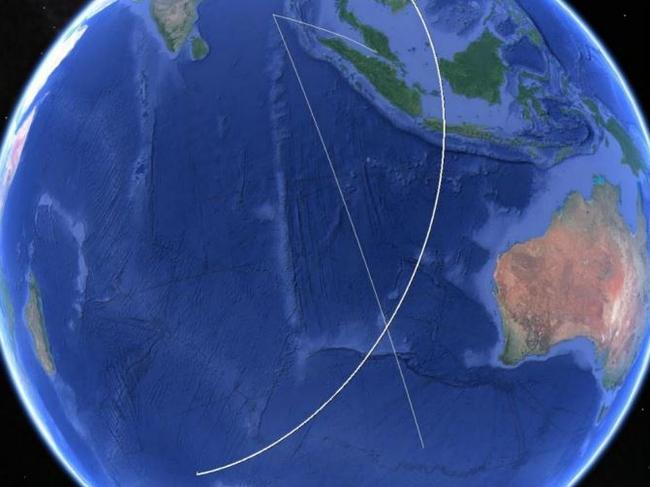 X marks the spot where the flight meets the famous 7th arc (the final attempted satellite handshake with the airliner) Picture: Google earth, annotated by ATSB