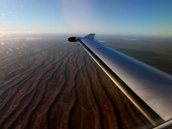 A Royal Flying Doctor Service over the Birdsville Track in South Australia's far north.