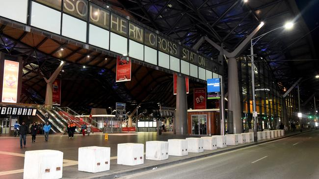 Concrete Bollards have gone in overnight at Southern Cross station, Spencer street, Melbourne. Picture: Nicole Garmston