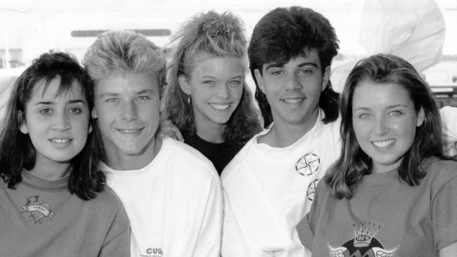 Dannii Minogue, far right, with some of the YTT cast in 1988.