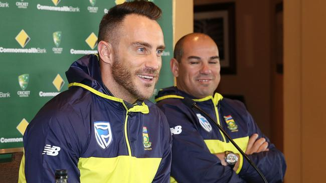South African cricket captain Faf du Plessis and coach Russel Domingo.