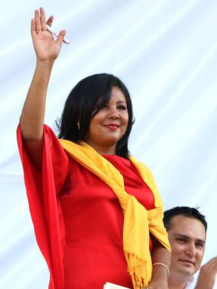 Gunned down ... Gisela Mota waves during her swearing in ceremony as mayor of Temixco on New Year's Day. Picture: Tony Rivera