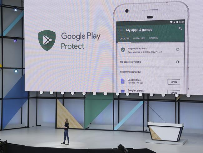 Stephanie Saad Cuthbertson talks about Google Play Protect at the Google I/O conference. Picture: AP Photo/Eric Risberg