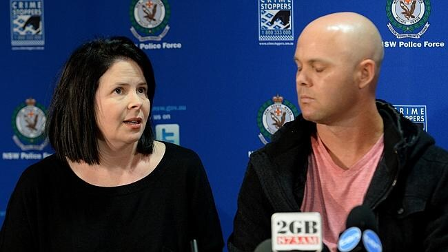 Karen and Mark Blackmore at an earlier police press conference. Mr Blackmore broke down in court this morning.