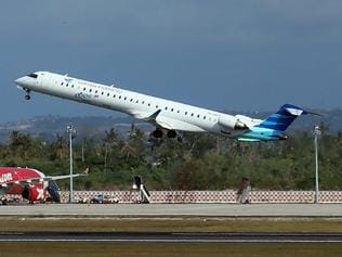 Garuda indonesia aircraft take off from Ngurah Rai International Airport on saturday. The Airport reopens on saturday after temporary closure since thursday night due to volcanic ash of Mount Raung.