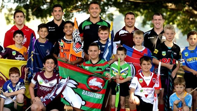 Cam King , Braith Anasta , Sam Burgess , Anthony Watmough , Paul Gallen with local junior league players at the Launch of the inaugural NRL Auckland Nines.