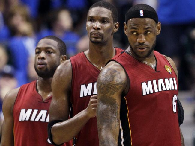 LeBron James with the men he left Cleveland for, Miami Heat stars Dwyane Wade and Chris Bosh.