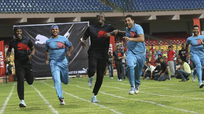 Yuvraj Singh edges out Usain Bolt in the 100m sprint.