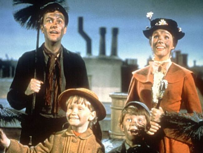 Van Dyke as Bert, Julie Andrews as Mary Poppins, Karen Dotrice as Jane Banks and Matthew Garber as Michael Banks.