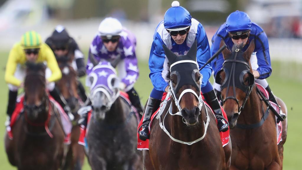 Hugh Bowman and Winx after winning the George Main Stakes on Saturday. Picture: Getty Images