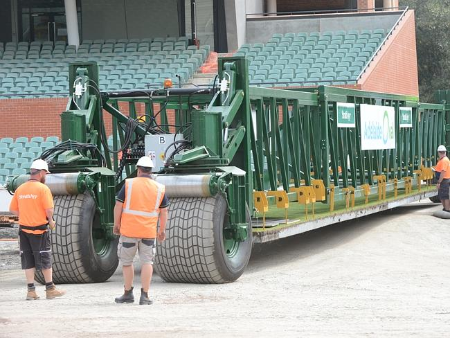 The first pitch is transported to Adelaide Oval. Picture: David Cronin.