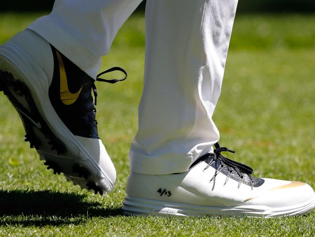 A detail of the Nike shoes worn by Rory McIlroy during the first round of the 2016 Masters.