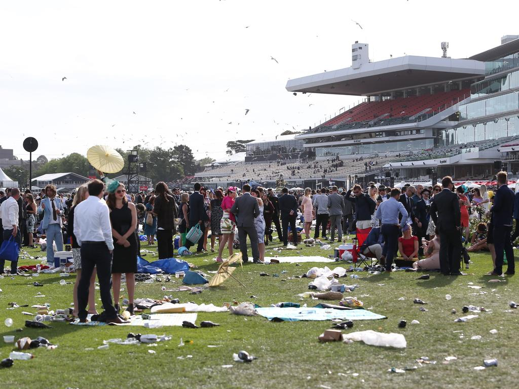The crowds disperse at Flemington Racecourse in Melbourne after the 2015 running of The Melbourne Cup. Picture: Richard Dobson