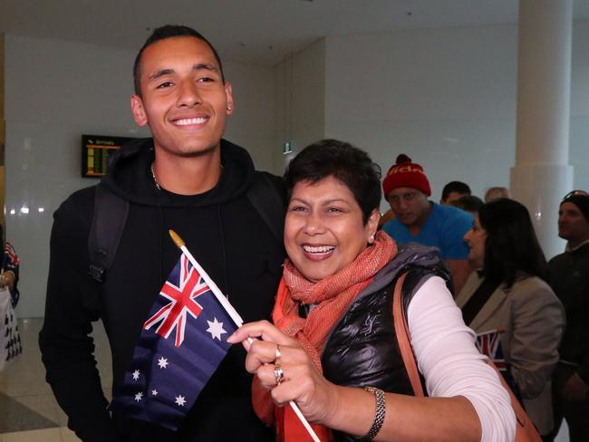 Nick Kyrgios has been joined in the UK by his mum, Nill. Picture: Supplied