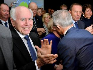 Sunday 26 June, 2016 Election, Prime Minister Malcolm Turnbull officially launches the Liberal 2016 Federal Campaign with wife Lucy and Liberal party members Julie Bishop, Treasurer Scott Morrison, Barnaby Joyce as well as ex PMs Tony Abbott and John Howard at Homebush Novotel. Picture: Jason Edwards
