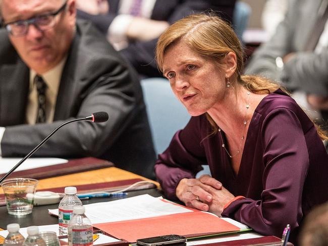Condemnation ... US ambassador to the UN Samantha Power speaks at a United Nations Security Council (UNSC) emergency meeting about the ongoing Ukrainian-Russian conflict.