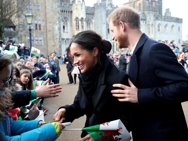 Meet and greet! Meghan Markle and Prince Harry at Cardiff Castle. Picture: Getty Images