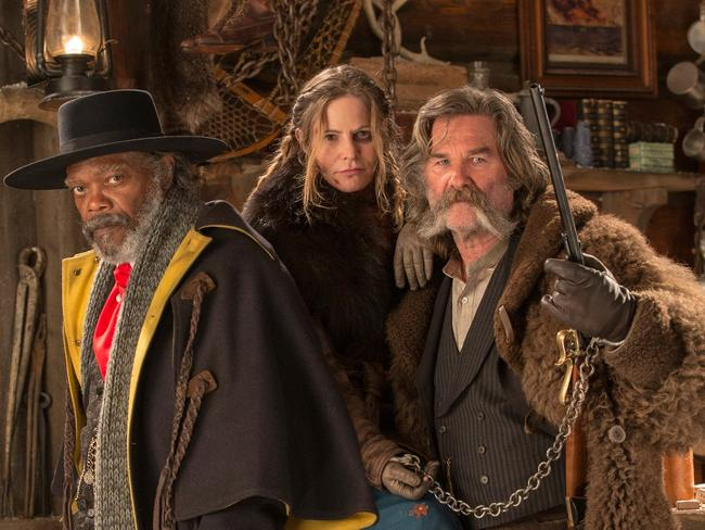 Killer cast ... Kurt Russell in Quentin Tarantino's The Hateful Eight with Samuel L. Jackson and Jennifer Jason Leigh