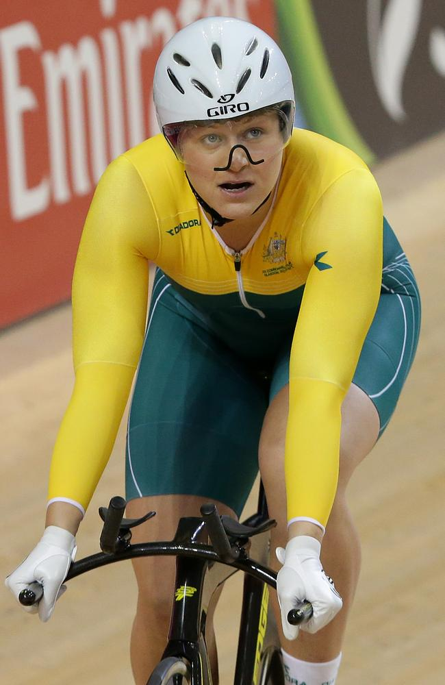 Stephanie Morton has broken Anna Meares' Games sprint record at Sir Chris Hoy Velodrome. Picture: Adam Head