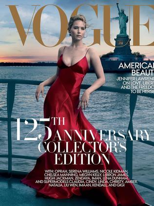 Jennifer Lawrence on the cover of Vogue cover. Picture: Annie Leibovitz