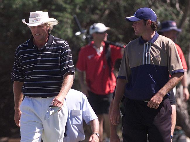 This is the then 17-year-old Bowditch alongside Greg Norman in the final round of the Australian Open back in 2000. There's a great story associated with that day: the two played together but hardly spoke. But by the end of the day, Norman flew the youngster back to Queensland in his private jet.
