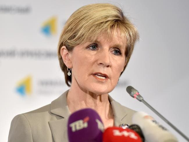 Showing stubborn political resolve ... Australian Foreign Minister Julie Bishop. Picture: Sergei Supinsky / AFP Photo