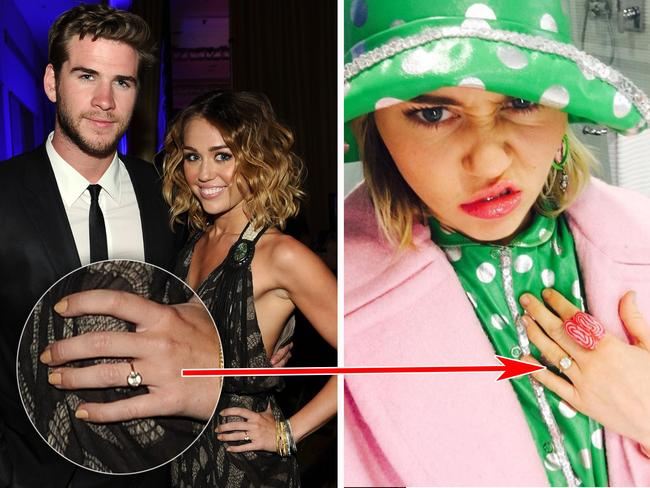 Left: Miley and Liam back in 2012 with her original engagement ring. Right: January 2016, Miley posts this pic to her Instagram account. Looks a lot like her 2012 ring. Picture: Michael Buckner/Getty Images; mileycyrus/Instagram