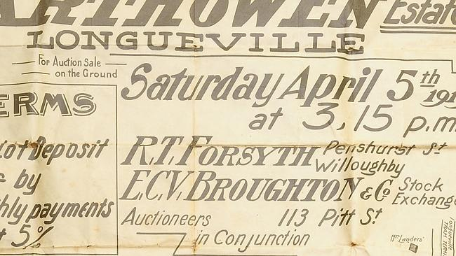 The 1919 auction poster for 13 Garthowen Avenue, Lane Cove.