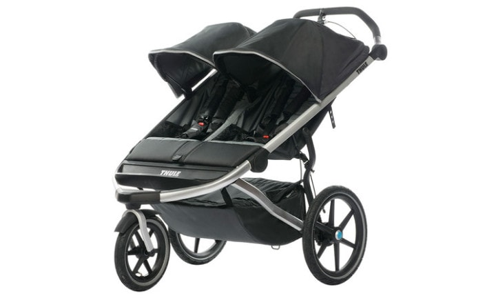 <b>Thule Urban Glide Double - RRP $1,009</b> <p></p> <p><i>Choose this if you want a pram to run with.</i></p> <p></p> <p>Marketed as a 'sports stroller', this is a good looking pram that really does seem to 'glide'. You can lock the front wheel in place for jogging, or unlock it for easy mobility around city streets. The padded seats, rear suspension, and multi-position canopy keep your babes comfy while you run. The seats don't lie completely flat, but there is a bassinet you can purchase separately for a newborn. With a good total weight capacity of 45kg, this is a great choice if you have two older kids.</p> <p><i>* Note that it is not recommended that you run with a newborn in a pram.</i></p>