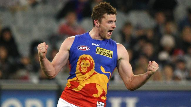 Pearce Hanley celebrates a goal for Brisbane Lions. Picture: George Salpigtidis