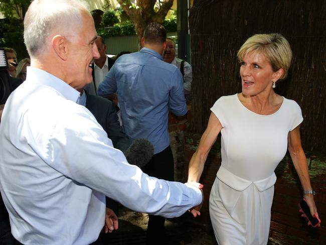 Malcolm Turnbull greets Julia Bishop as they arrive as guests at a $100 per head Liberal Party Bellevue Hill Branch fundraiser today. Picture: Cameron Richardson