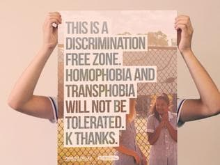 Safe Schools Coalition poster. This is a discrimination free zone. homophobia and Transphobia will not be tolerated. K Thanks. Image for Billy Rule.