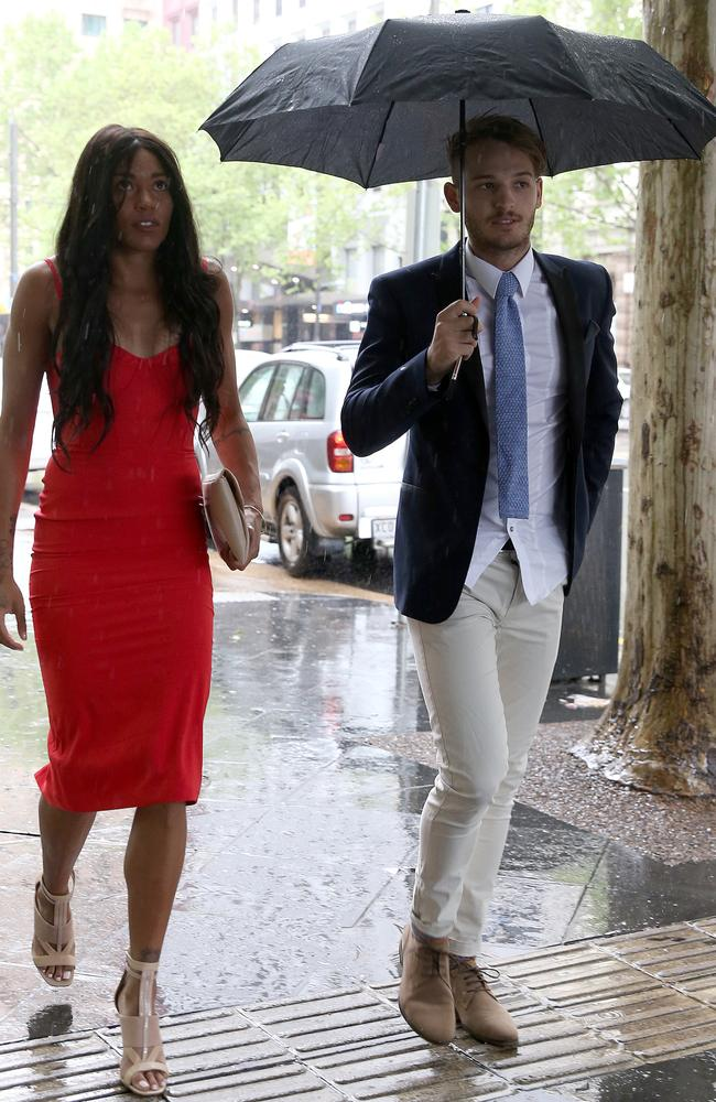 The picture that started it all: James Aish and partner, Morgan Mitchell arrive for the wedding reception of Tyson Goldsack. Picture Dean Martin