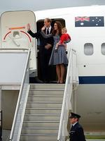 Britain's Prince William, his wife Catherine and their son Prince George depart Australia from Defence Establishment Fairbairn in Canberra. Picture: AFP