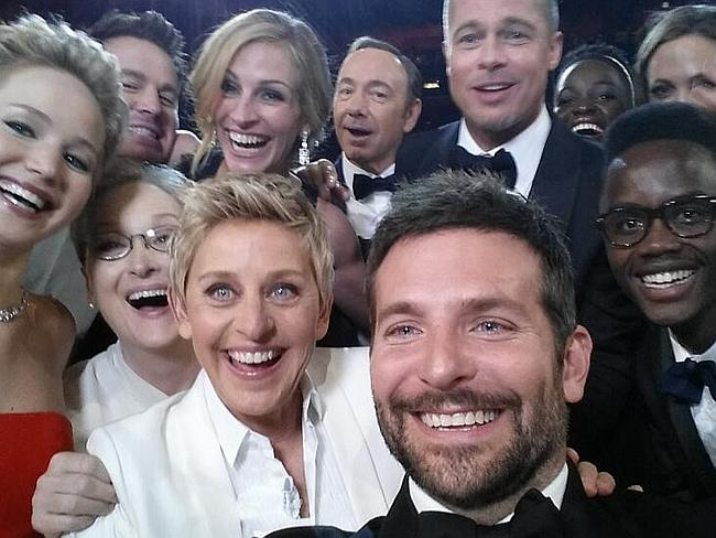 Most retweeted photo on Twitter . a selfie from Ellen DeGeneres at the Oscars with Channing Tatum, Jennifer Lawrence, Meryl Streep, Bradley Cooper, Angelina Jolie, Brad Pitt, Kevin Spacey, Julia Roberts, Lupita Nyong'o and Jared Leto. Picture: Twitter