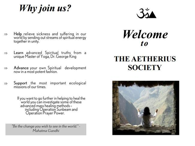 A brochure for the Aetherius Society in Queensland.